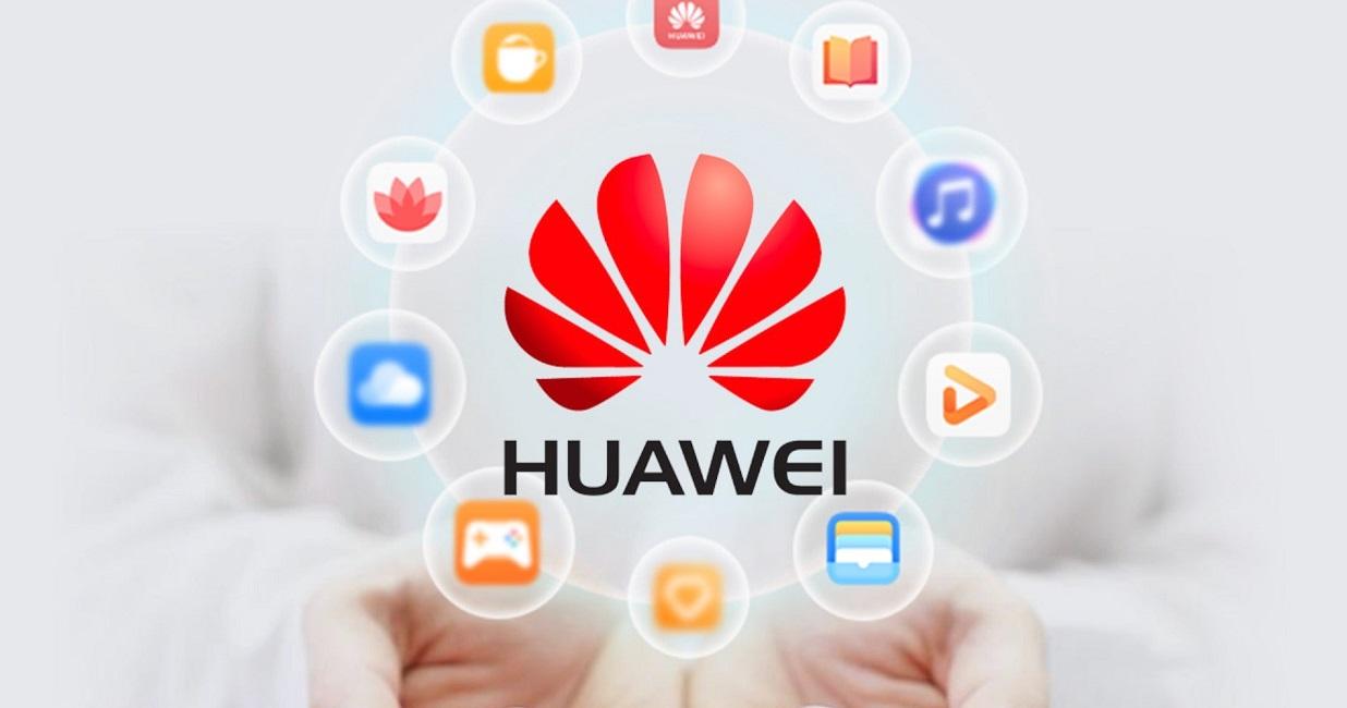 Логотип Huawei с различными сервисами вокруг в ладонях
