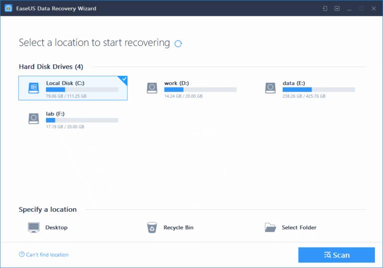 Восстановление файлов с помощью утилиты EaseUS Data Recovery Wizard.