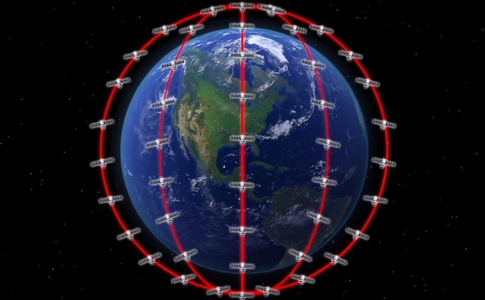 Планета Земля и схема размещения спутников вокруг нее