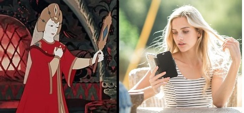Девушка со смартфоном и королева из Спящей красавицы