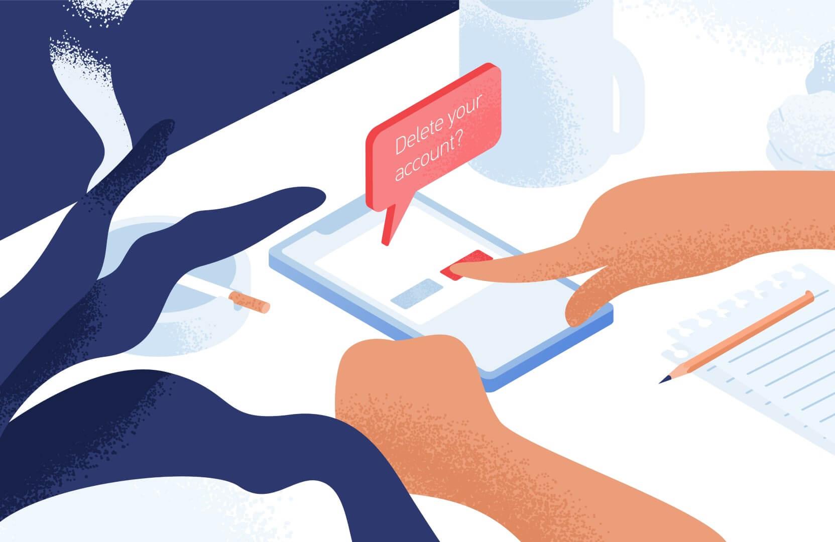 """Рисунок """"Пользовательская рука наживает кнопку удаления на смартфоне"""""""