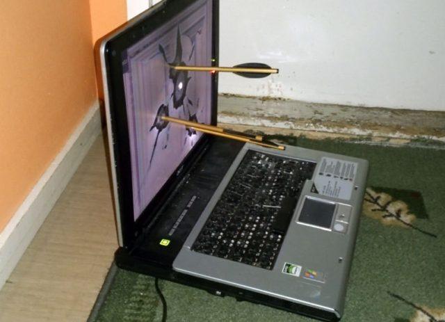 Дротики в экране ноутбука
