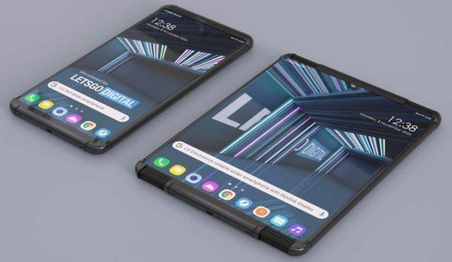 Раскладной смартфон в сложенном и разложенном состоянии