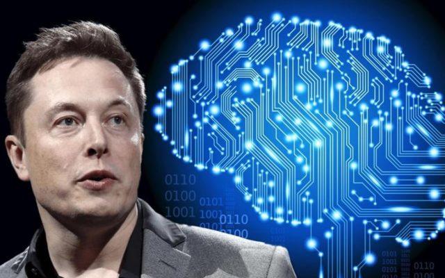 Илон Маск на фоне светодиодного мозга