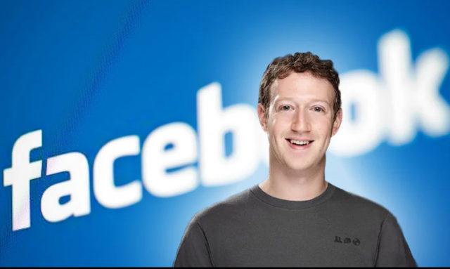 Марк Цукерберг на фоне Facebook