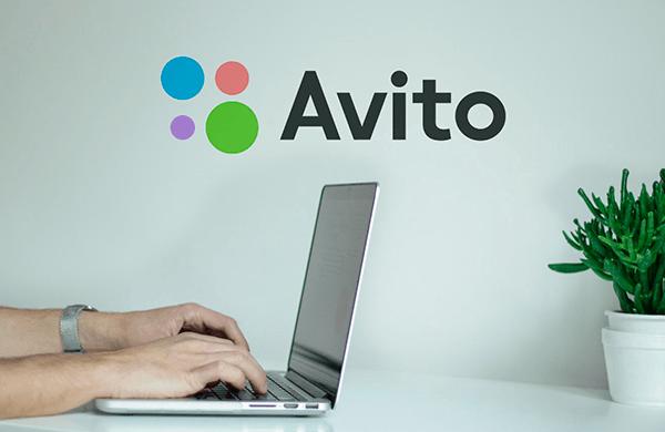 Работа в ноутбуке на фоне надписи Avito на стене