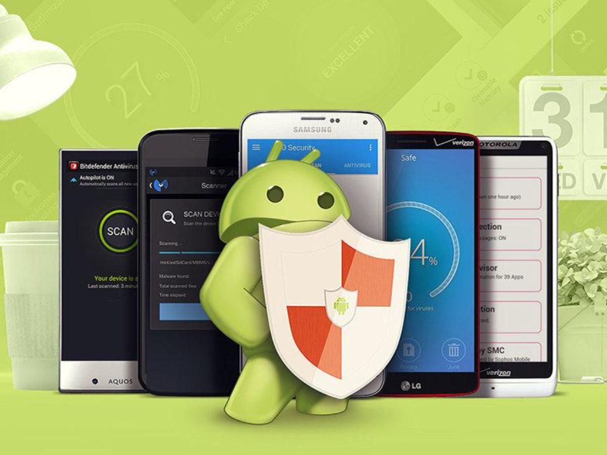 Android с антивирусным щитом на фоне смартфонов