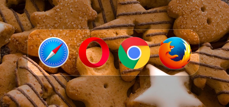 Логотипы браузеров на фоне печенья