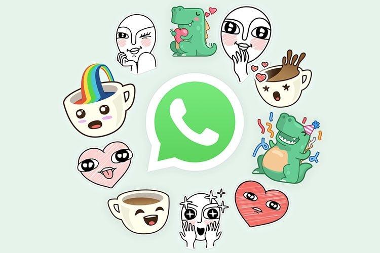 Стикеры вокруг логотипа WhatsApp