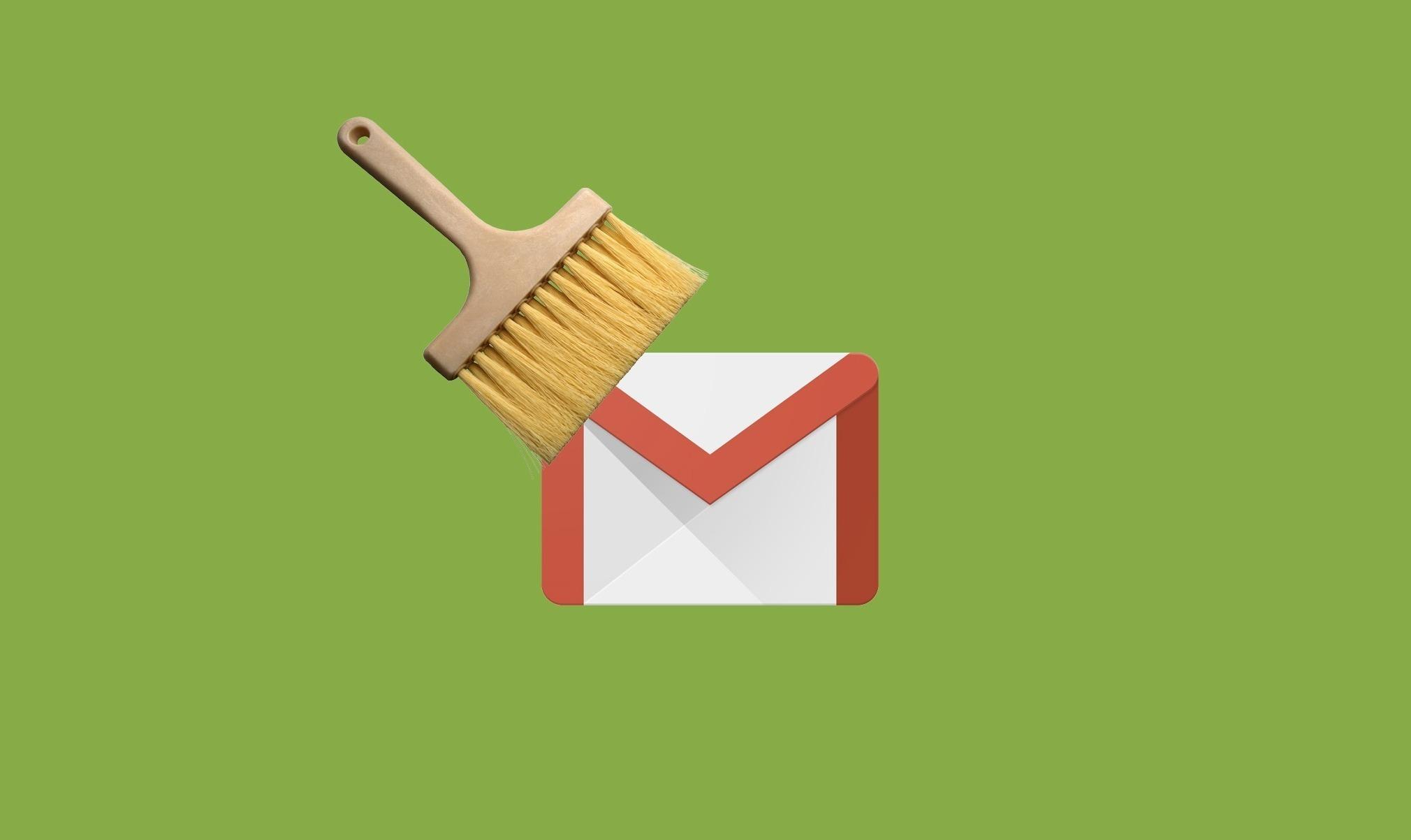Щетка и значок Gmail