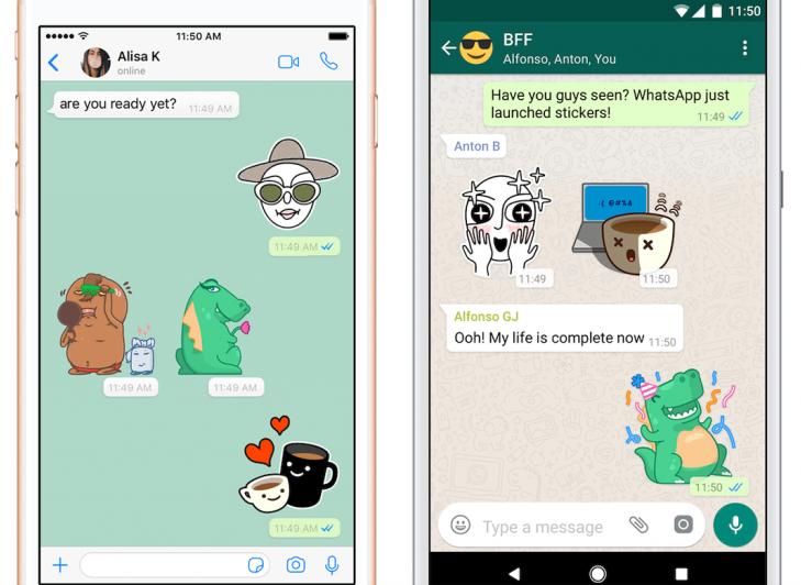 Стикеры в диалоге WhatsApp