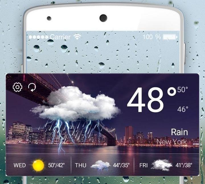 Приложение погоды в смартфоне