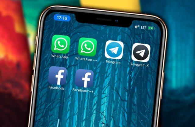 Ярлыки соцсетей и мессенджеров на заставке смартфона