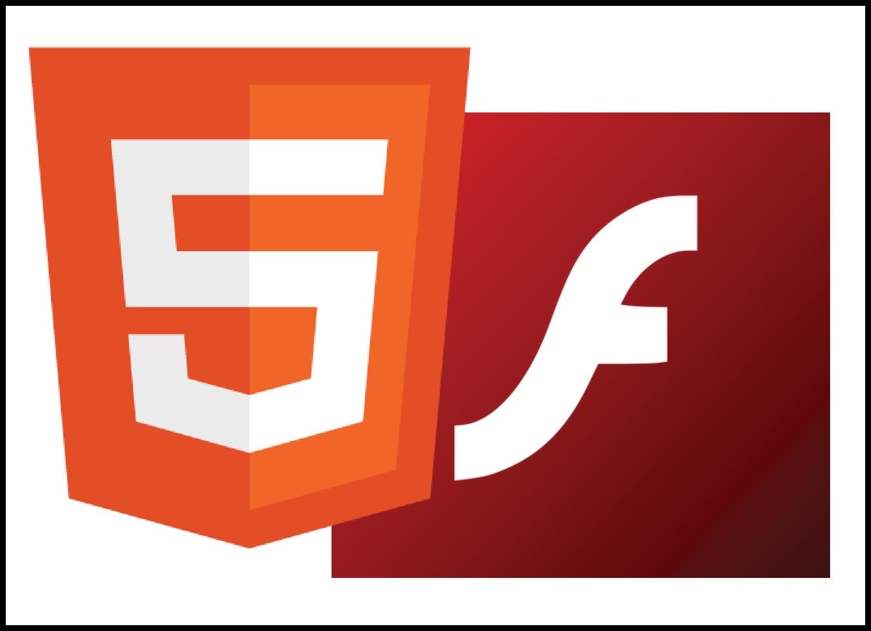 Значки HTML5 и Adobe Flash Player