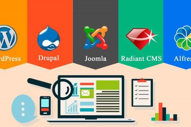 Конструкторы для сайтов и компьютер с лупой