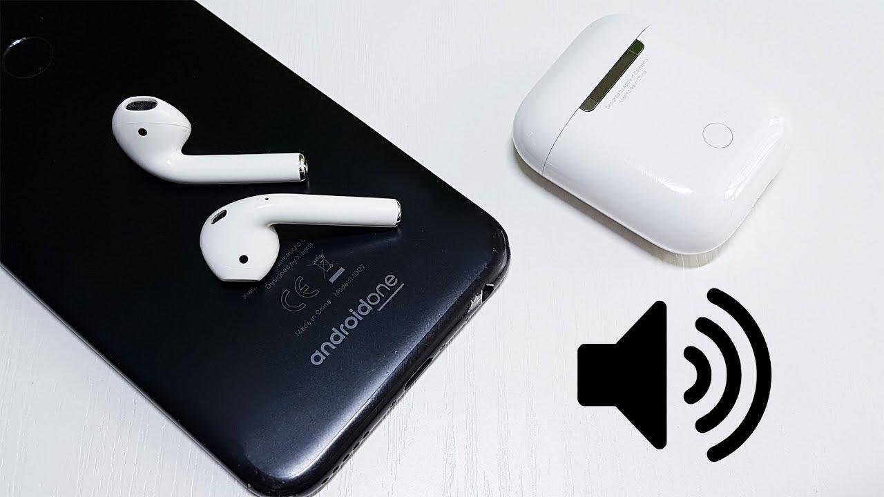 Гарнитура Apple, смартфон Android, кейс из-под гарнитуры и значок громкости