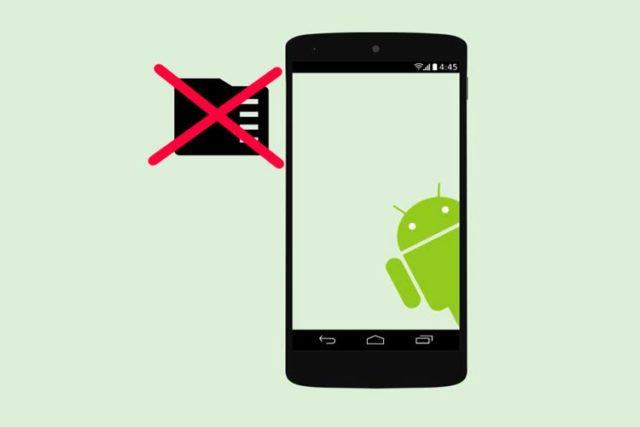 Смартфон с Android и перечеркнутая карта памяти