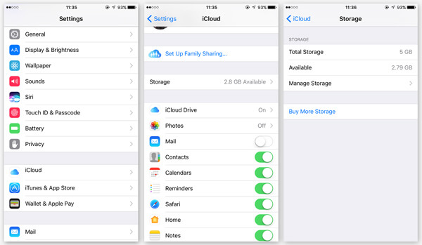 Настройки облака iCloud