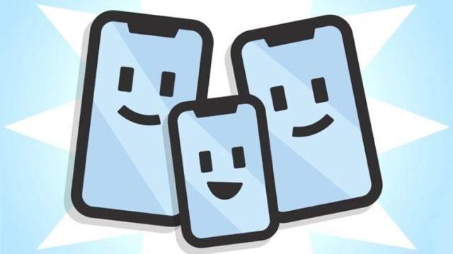 Семейство улыбающихся смартфонов