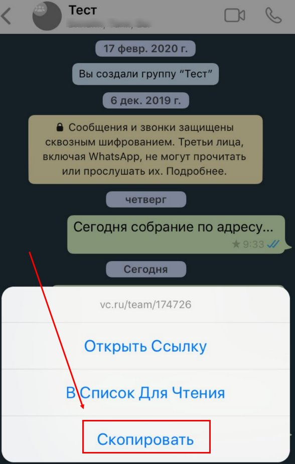 Ручное копирование сообщений в мобильном приложении WhatsApp