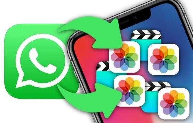 """Рисунок """"Логотип WhatsApp и значок галереи на дисплее смартфона"""""""